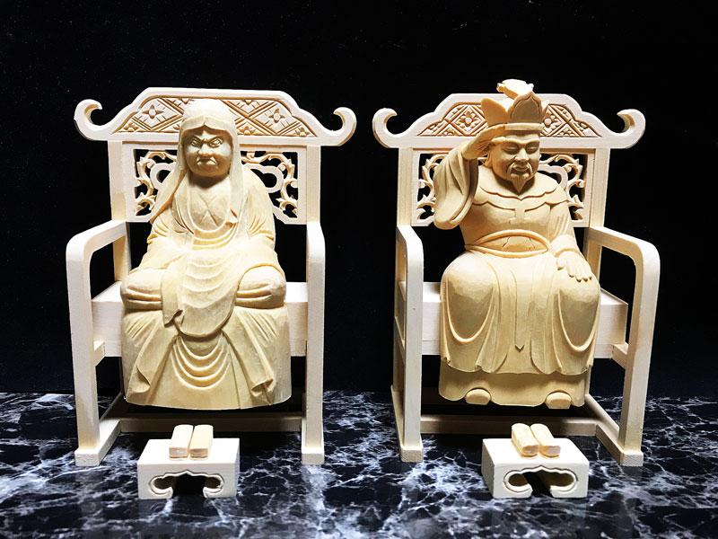 【禅宗】 仏像 総白木 達磨大師・大権修理菩薩 2.0寸