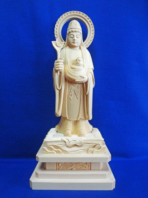 【仏像】 総白木 子安鬼子母神 3.5寸