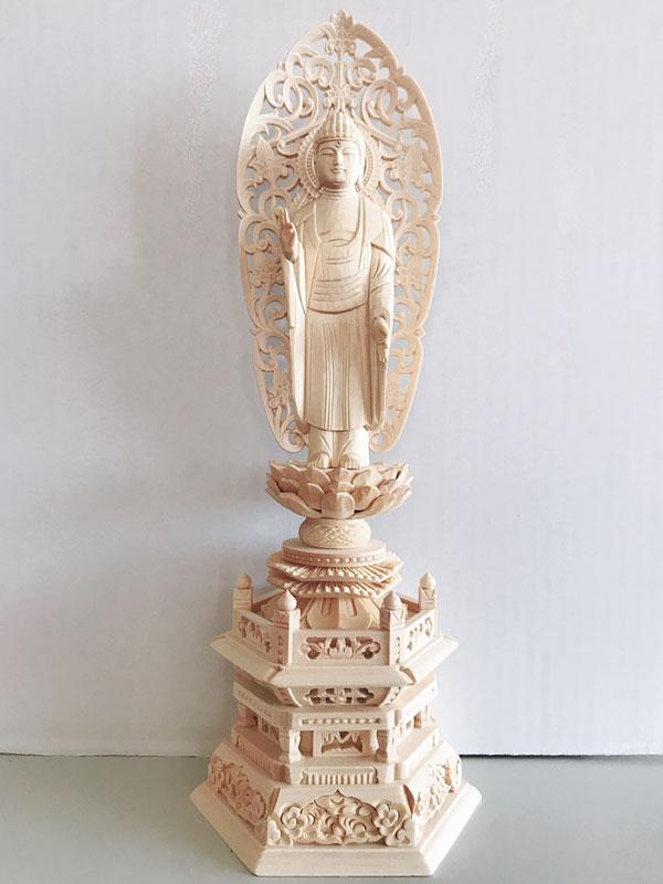 【浄土宗】 仏像 総ヒノキ 六角台座 舟立弥陀 3.0寸