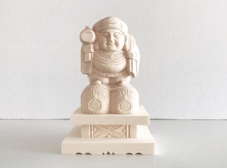 【日蓮宗】 仏像 総白木 大黒天 台付 1.8寸
