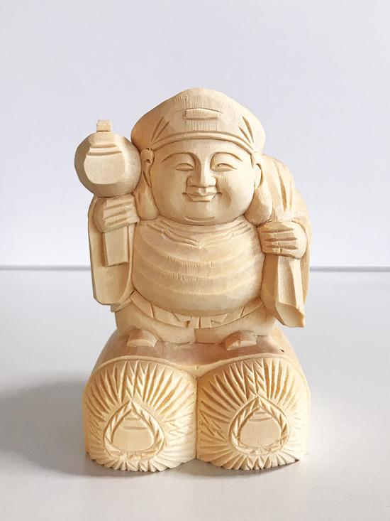 【日蓮宗】 仏具 仏像 総白木 大黒天 2.0寸