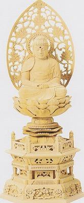 【禅宗 曹洞宗 臨済宗】 仏像 総ヒノキ 六角台座 座釈迦 1.8寸 釈迦如来