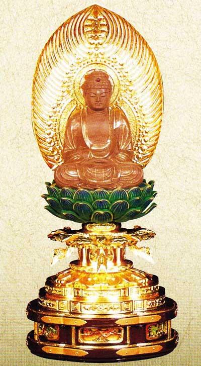 【曹洞宗】 仏像 白檀 ご本尊 釈迦如来 丸台座 2.0寸