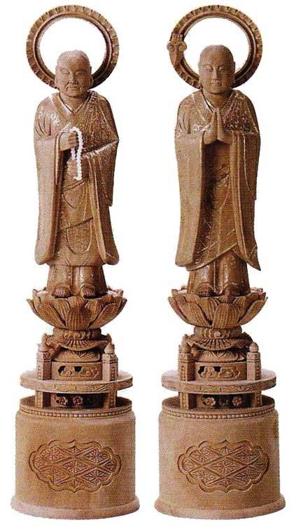 【浄土宗】 仏像 総白檀 両大師 (法然上人 善導大師) 金泥書 3.5寸