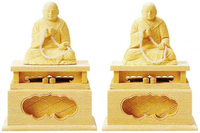 【浄土真宗本願寺派 西】 仏像 総白木 蓮如上人 ・ 親鸞聖人 2.0寸