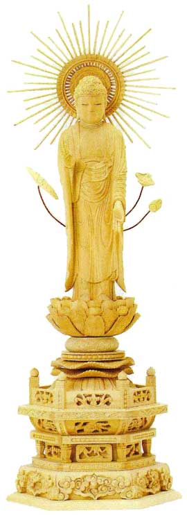【真宗大谷派(東)】 仏像 柘植 六角台座 東立弥陀 東型光背 [ 金泥書 ] 3.5寸