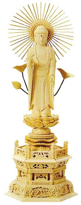 【真宗大谷派(東)】 仏像 総ヒノキ 六角台座 東立弥陀 [ 金泥書 ] 5.0寸