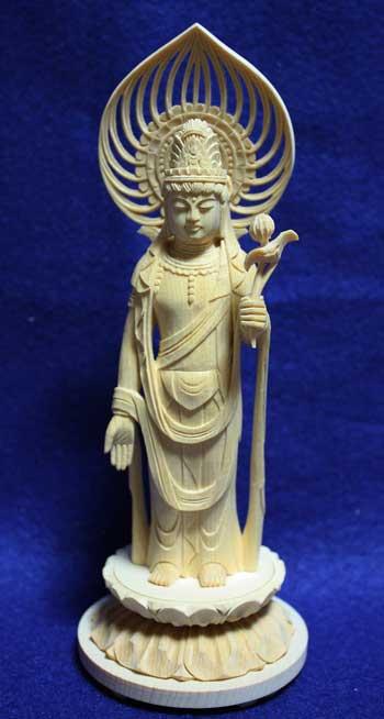 【仏像】 白木 丸台座 宝珠光背 聖観音 3.0寸