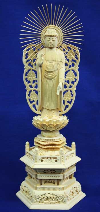 【浄土真宗本願寺派 西】 仏像 総ヒノキ 六角台座 西立弥陀 3.0寸
