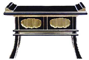 【寺院用 仏具(本願寺派 西)】 中京型 経机 角耳 分解式 金具なし 1尺6寸