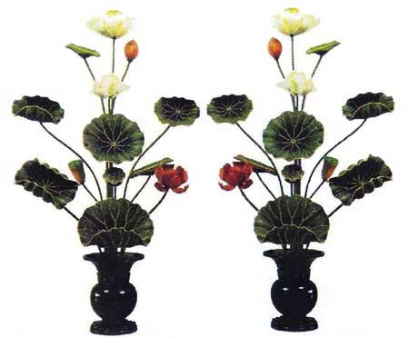 【寺院 寺院用 仏具(各宗派)】 寺院仏具 彩色 木製 常花(一対) 2尺 11本立
