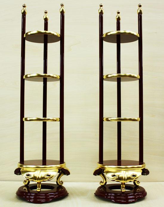 仏具 寺院用 香盤型 段盛 1対 セット 20.0寸 純金箔 寺院 寺院仏具