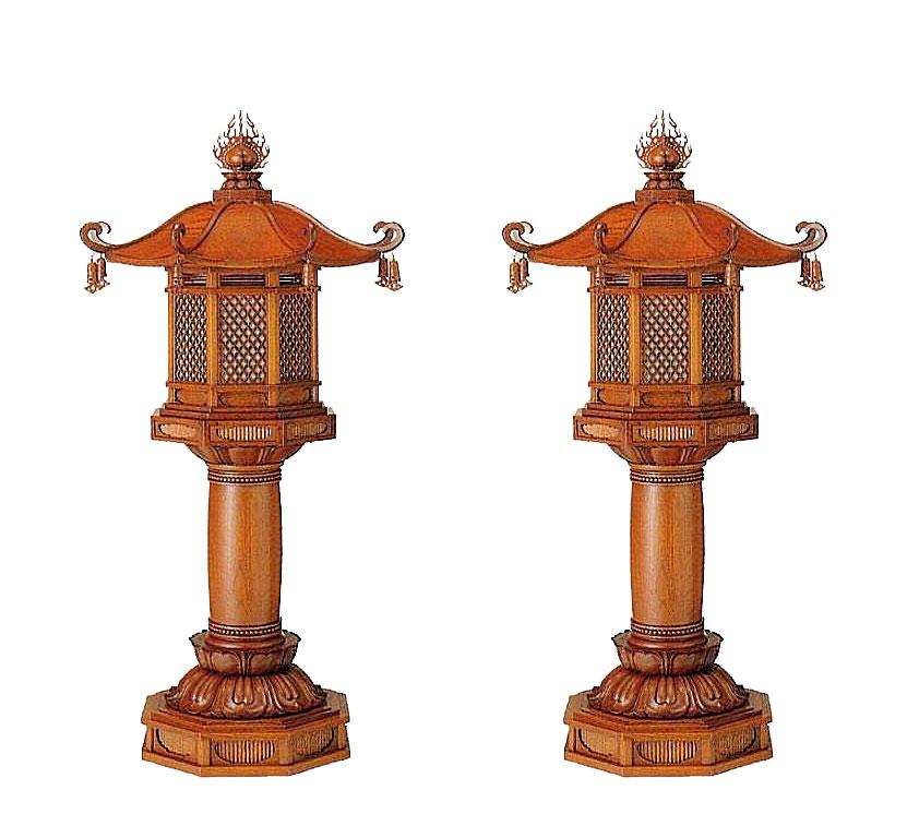 寺院用 仏具 ケヤキ エンタシス型台灯籠 4尺 1対 灯籠 寺院仏具