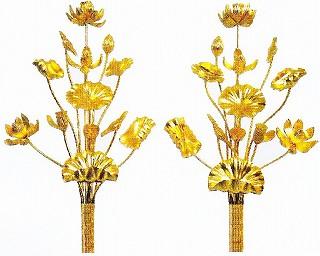 【寺院 寺院用 仏具(各宗派)】 寺院仏具 木製 純金箔 常花(一対) 2尺 11本立