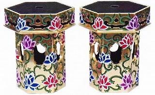 【寺院用 仏具(本願寺派 西)】 供笥 八角筒型花束 一対 8.0寸