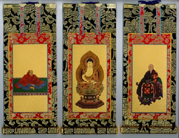 仏具 掛軸 臨済宗妙心寺派 上仕立 紺表装 3枚セット 極豆 掛け軸 セット