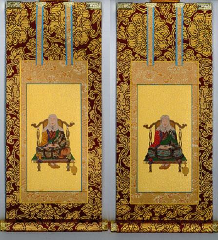 【掛け軸 掛軸】 天台宗 天台大師 伝教大師 2枚セット  【仏具 茶表装掛け軸】 掛軸 天台宗 極豆代 両脇セット