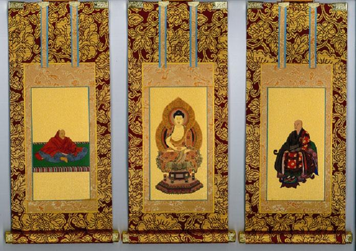 【仏具 茶表装掛軸】 掛軸 臨済宗妙心寺派 3枚セット 極豆