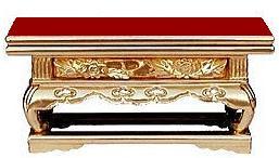 【浄土真宗本願寺派 (西) 仏具 卓】 木製 純金箔 上前 上卓 華鋲卓 ( 花鋲卓 ) 2.7寸 朱塗り