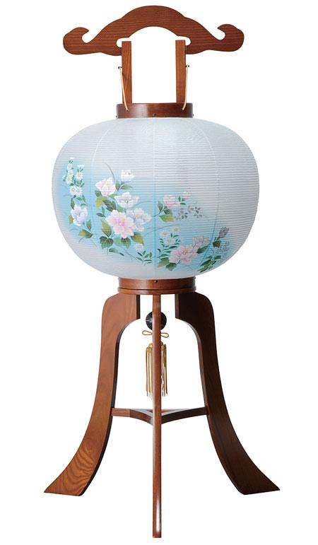 【 提灯 】 天然木 ケヤキ牡丹青ボカシ 12号 回転 ビニロン紙張 【仏具 お盆 お盆用品 灯篭 燈籠 灯籠】 ちょうちん 照明