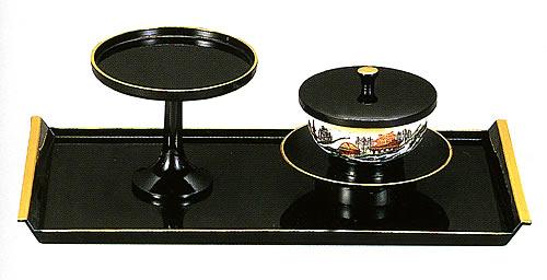 お給仕セット 大 黒塗り(フチ金)4.2寸茶台