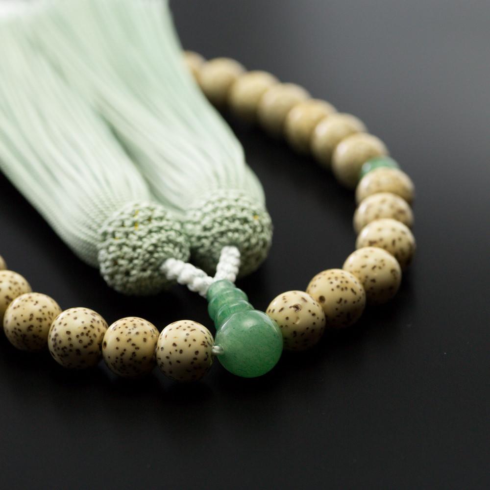 数珠・星月菩提樹珠 8mm玉 印度翡翠仕立