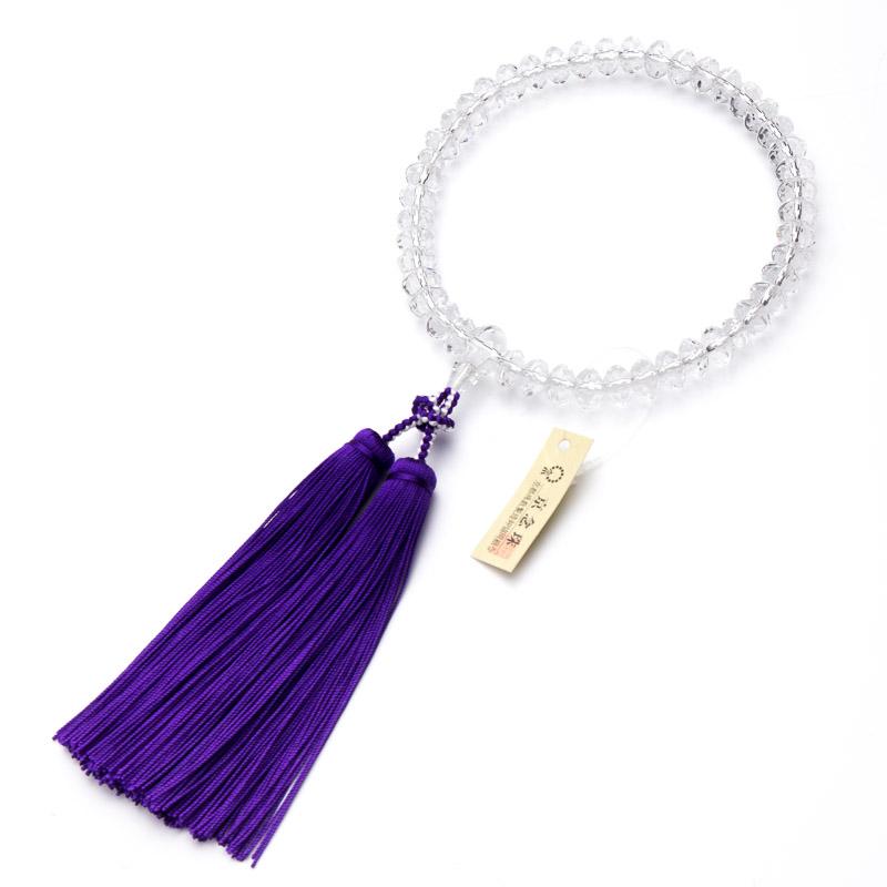 数珠・女性用 本水晶 スターシェープカット 9mm 散華房 念珠