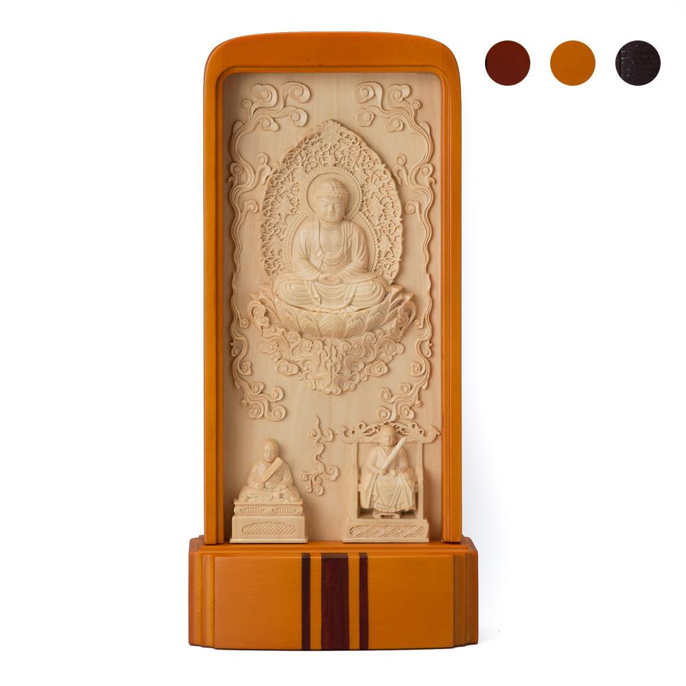仏像 スタンド仏像 臨済宗妙心寺派(釈迦如来、無相大師、花園法皇) (ブラウン・大)