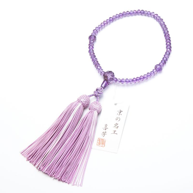 数珠・女性用 ローズアメジスト切子 6mm 念珠