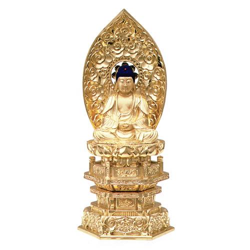 純金箔押 中京型 七重台座 肌金粉仕上 座釈迦 1.8寸【送料無料】
