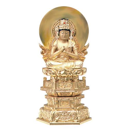 純金箔押 中京型 七重台座 肌金粉仕上 大日如来 3.5寸【送料無料】