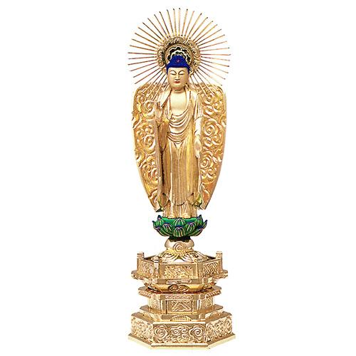 純金箔押 中京型 七重台座 肌金粉仕上 西立弥陀 4.5寸【送料無料】