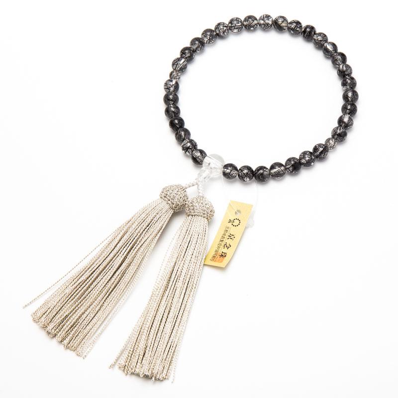 数珠・女性用 ブラックルチル 8mm 水晶入り 数珠/女性用/ブラックルチル/黒線水晶/京念珠 念珠