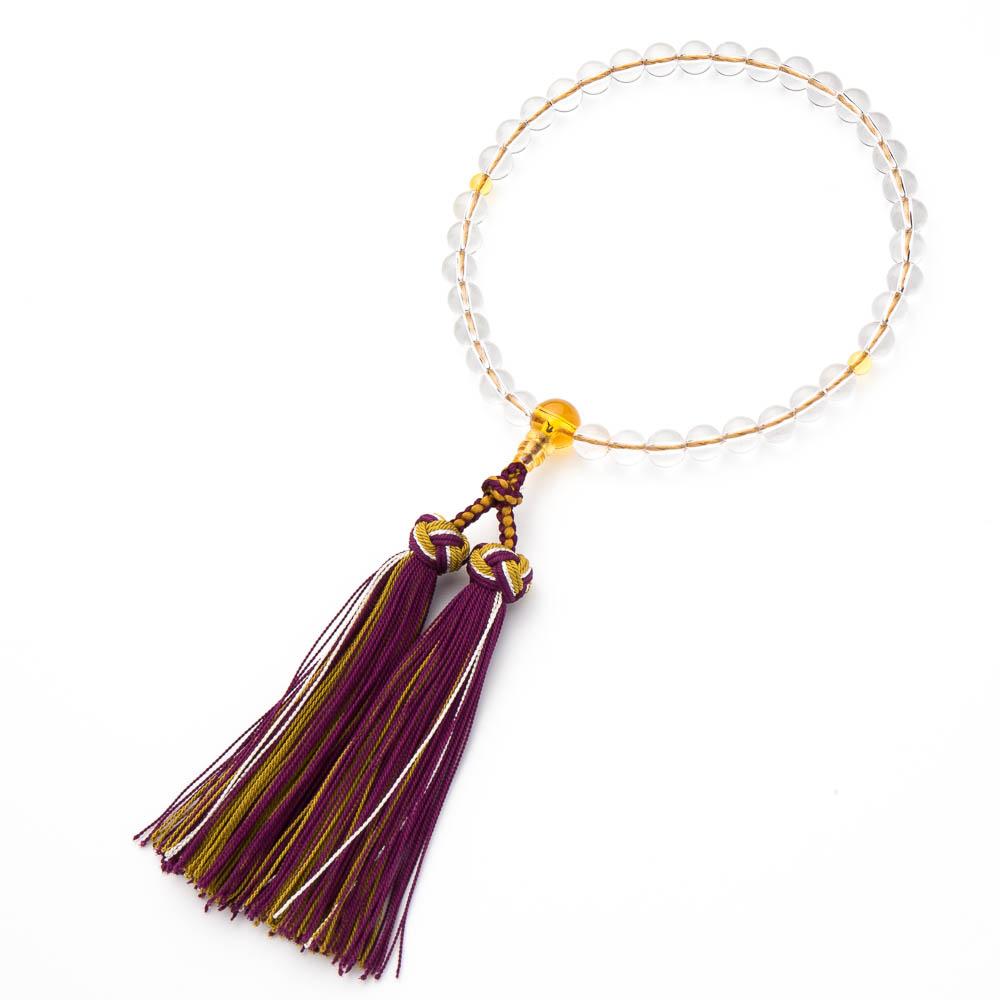 数珠・女性用 本水晶 7mm 黄水晶仕立 銀花かがり房 念珠