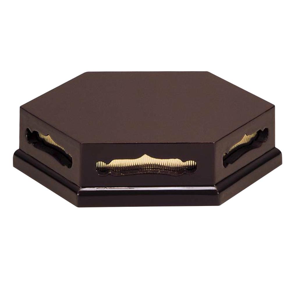 仏具 六角香炉台 ウルミ 4.5寸