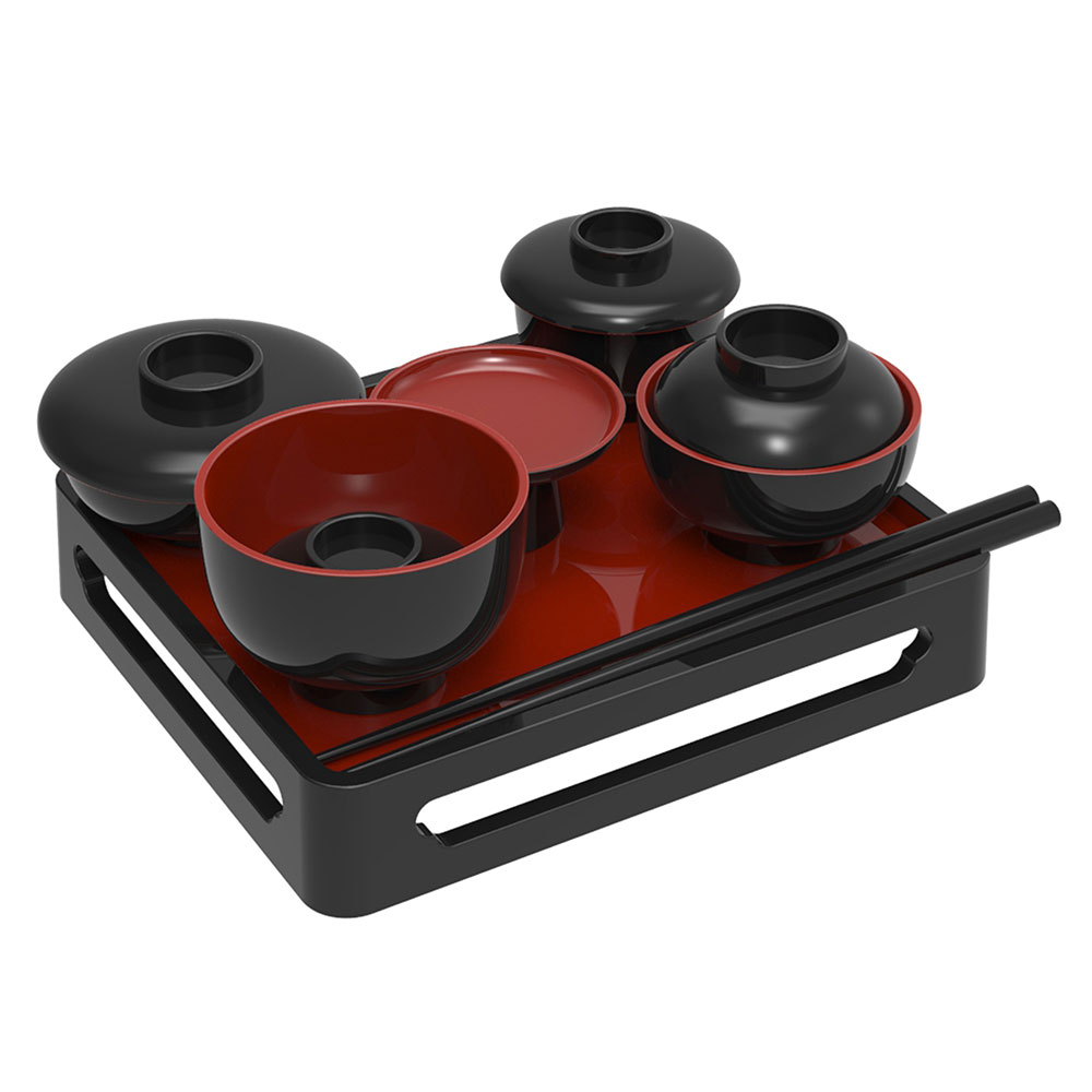現代のコンパクトなお仏壇に合わせた小さめの仏膳 仏具 倉 仏膳 4.5寸 内朱 黒 未使用