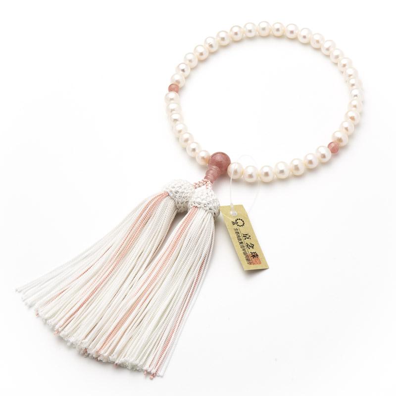 数珠・女性用 淡水真珠 ストロベリークォーツ仕立 念珠
