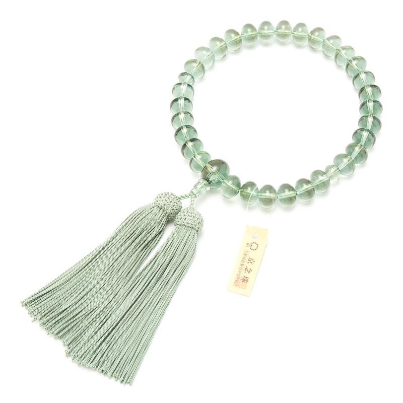 数珠・男性用 グリーンクォーツ 31平玉 念珠 正絹房