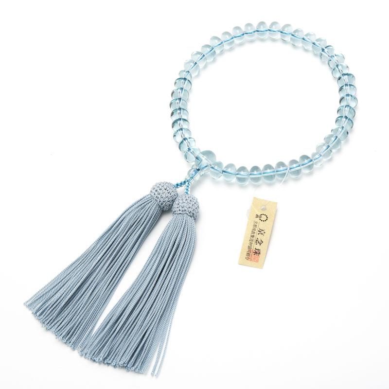 数珠・女性用 ブルークォーツ 9mm 平玉 念珠