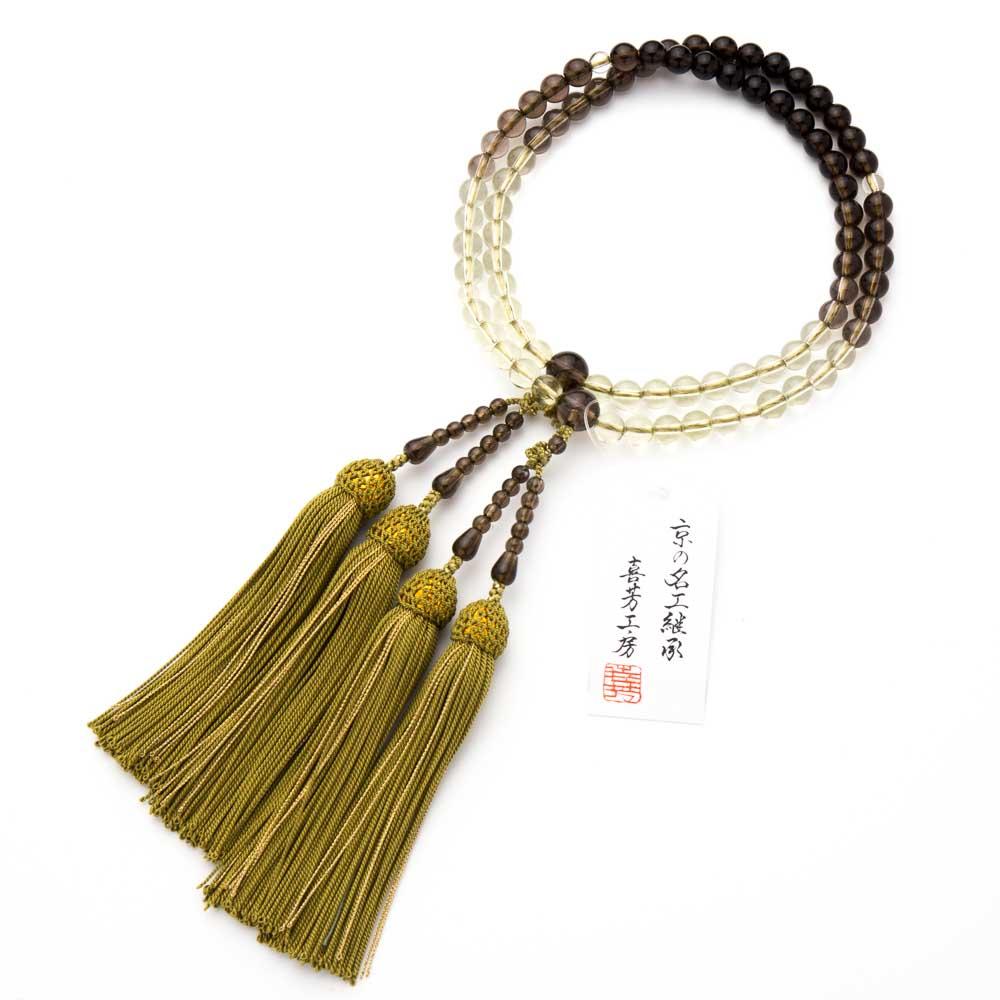 数珠・女性用 茶水晶 7mm グラデーション 二連 念珠