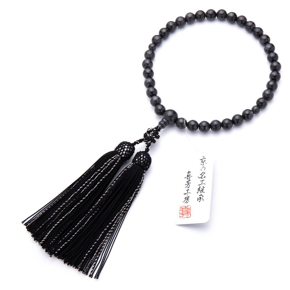 数珠・女性用 黒翡翠 8mm 正絹房