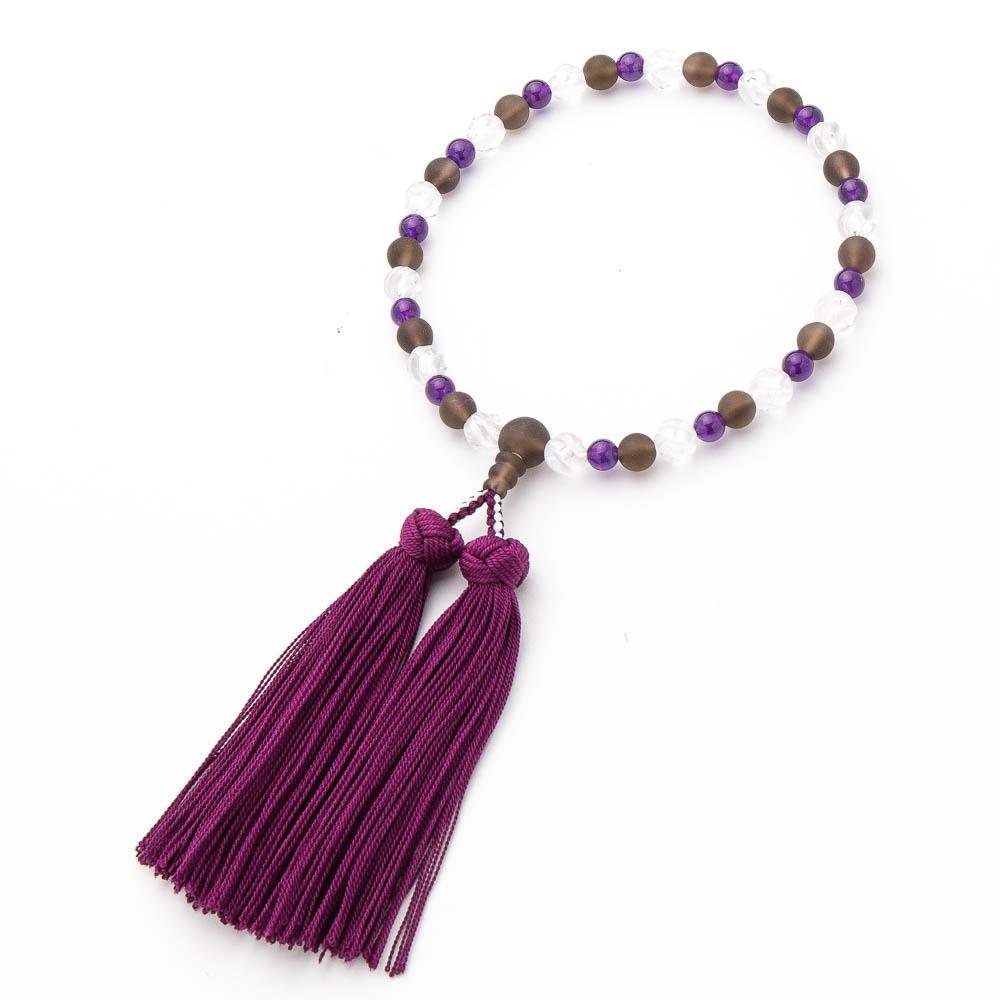 数珠・茶水晶 8mm 水晶ウェーブカット 紫水晶仕立
