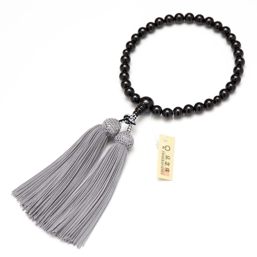 数珠・女性用 ブラックスピネル 8.5mm 正絹房 念珠