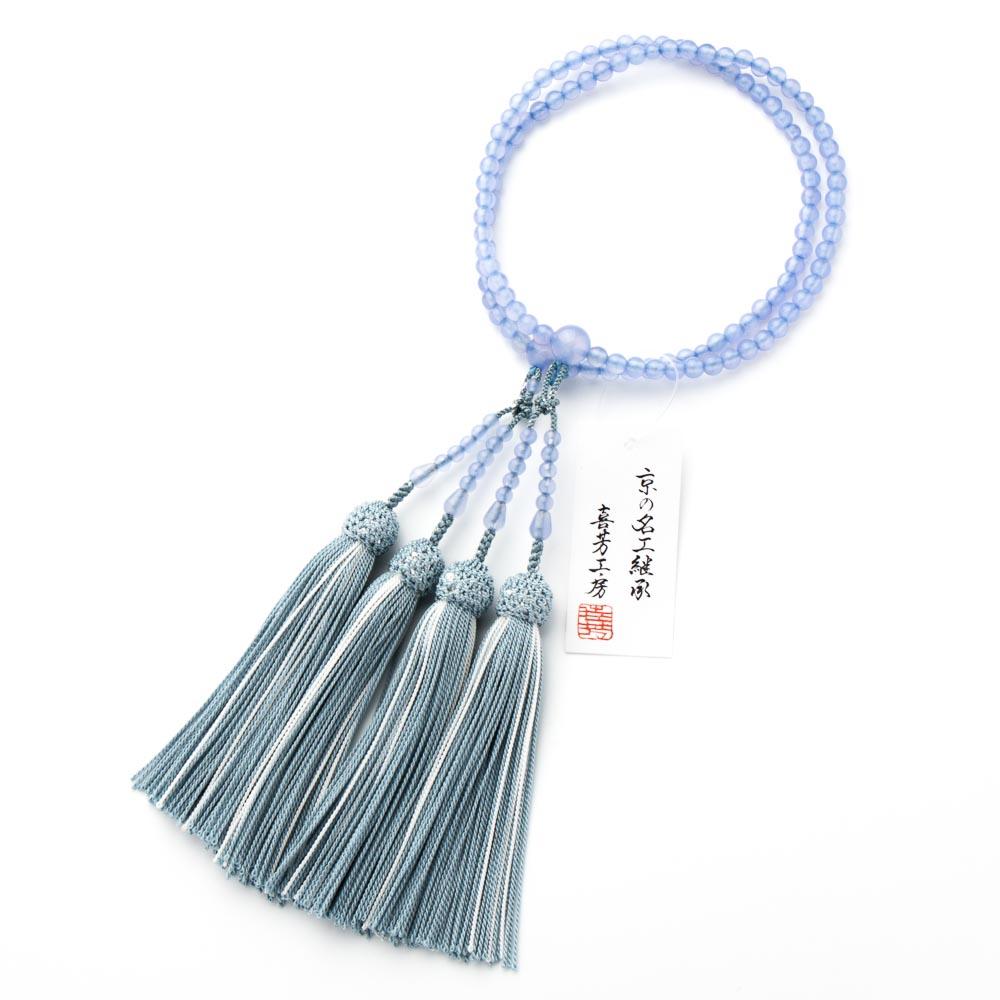 数珠・女性用 ブルー瑪瑙 5mm 二連 正絹房 念珠