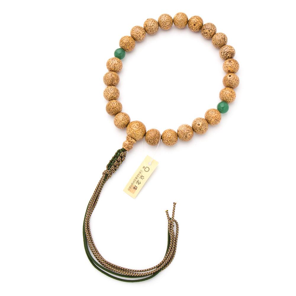 数珠・男性用 星月菩提樹 22玉 印度翡翠二天 正絹六本組紐
