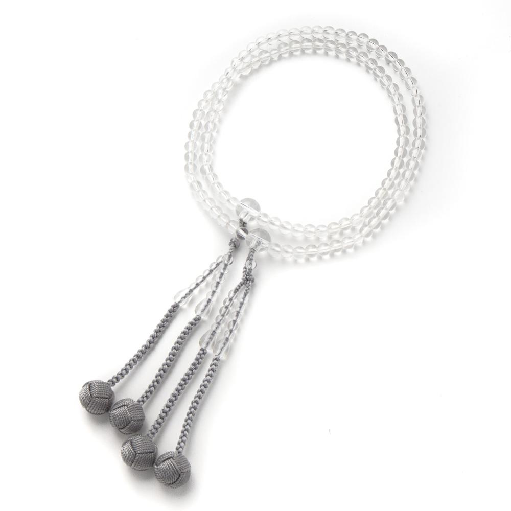 数珠・女性用 真言宗 本式数珠 本水晶 5mm 丸玉 正絹房