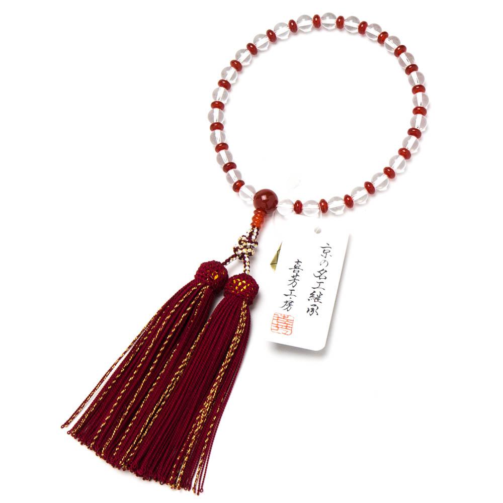 数珠・女性用 本水晶 7mm メノウ入り 正絹房