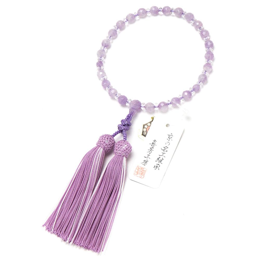 数珠・女性用 藤雲石 8mm 切子カット 正絹房