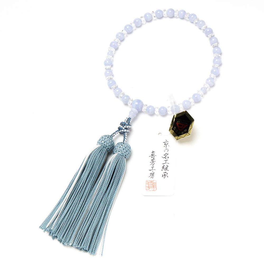 数珠・女性用 カルセドニー 7mm 切子水晶入り 正絹房