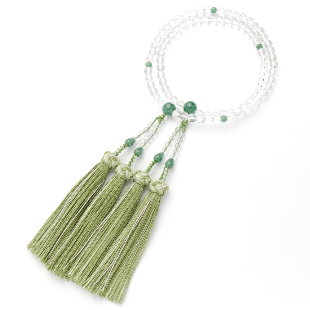 数珠・女性用 水晶 尺玉8寸二輪 印度翡翠仕立 銀花かがり房